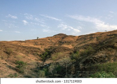 Dry hills in the area of the Deccan plateau, India