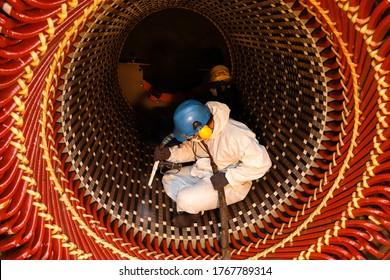 Dry Ice Blast Cleaning  Rust at Stator Core of Generator