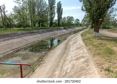 Dry irrigation canals in the Crimea, 2015. Ukraine shut down the supply of water Crimea. Drought. Environmental disaster in agriculture. State terrorism. selective Focus