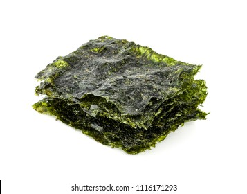 Dry japanese organic seaweed,isolated on white background.