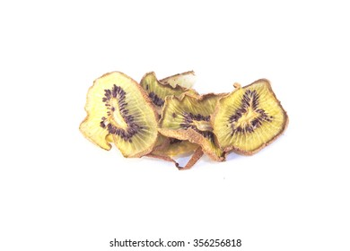 Dry kiwi fruit slices, isolated on white background