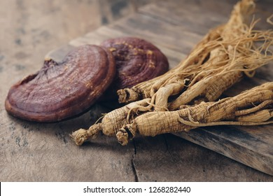 Dry Korean ginseng with Ganoderma Lucidum Mushroom on a wooden table.natural medicine.