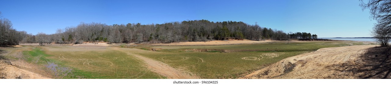 Dry lake bed at Enid Lake in Mississippi