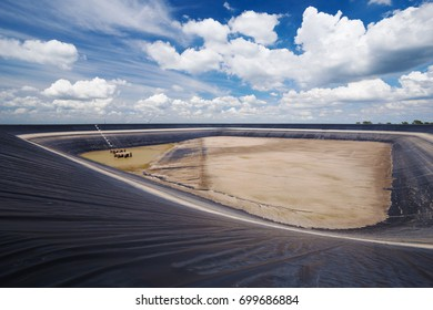 dry Lam Takong reservoir (water reservoir with plastic liner), Nakhon Ratchasima, Thailand