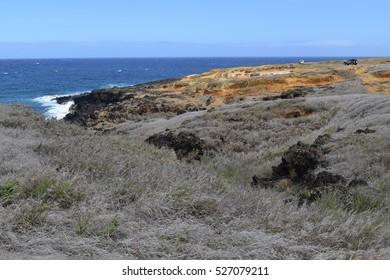 Dry landscape on the way to the Papakolea green sand beach, Big Island, Hawaii