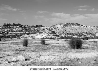 dry landscape in province of Mursia, Spain,  w&b