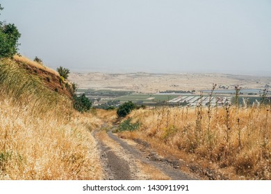 Dry landscape in summer in Golan Heights, northern Israel.