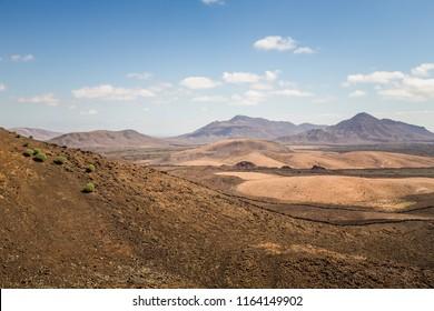 Dry lava flow from the  Caldera de Gairia volcano in Fuerteventura.
