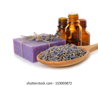 dry lavender on a white background
