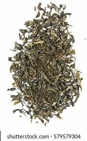 dry leaf green tea on a white background