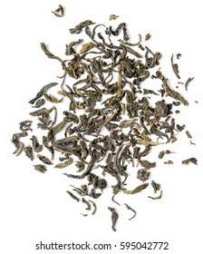dry leaf green tea on a white background