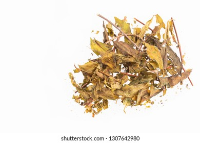 Dry leaves of valerian - Valeriana officinalis. White background
