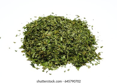 dry lovage herb (Levisticum officinale) isolated on the white background