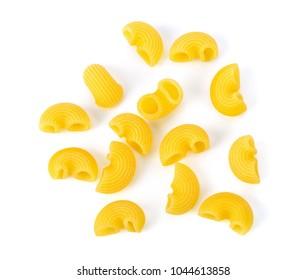 dry macaroni on white background