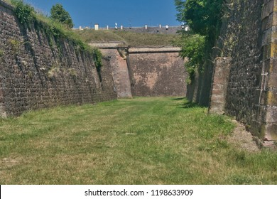dry moat in the Neuf-Brisach fortress designed by architect Vauban
