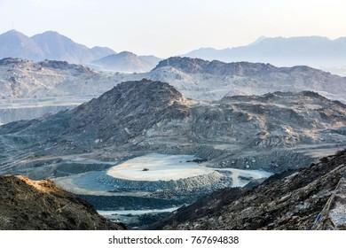 Dry mountains landscape of Makkah city, holy city of makkah, saudi arabia
