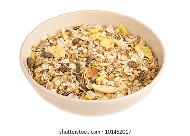 Dry Muesli in a Ceramic Dish isolated on white background