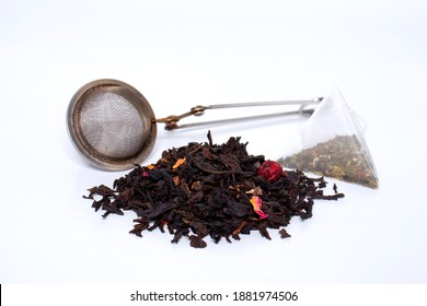 dry natural tea and packaged tea, boiling strainer. the concept of making tea.