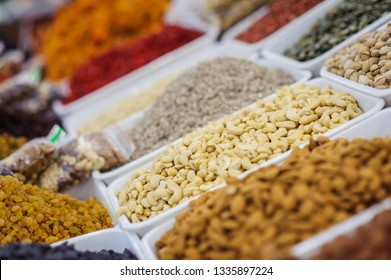 Dry Nuts Mix Assortment in Store Showcase.