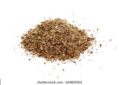 Dry oak bark herb (Quercus cortex) isolated on the white background