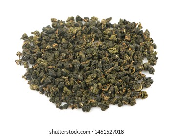 Dry oolong tea leaves isolated on white