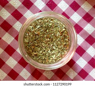 Dry oregano leaves on the table