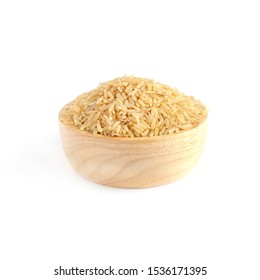 Dry organic rice seed pile in wooden bowl on white background