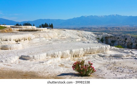Dry Pamukkale mountain due to extensive water usage, Turkey