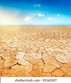 Dry, parched, cracked earth