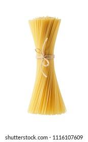 Dry pasta spaghetti macaroni isolated on white background.