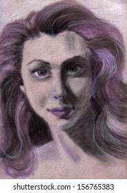 Dry pastel woman portrait