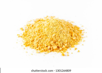 Dry pea soup, yellow on white background, concentrated crushed