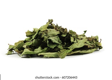 Dry pepermint (Mentha × piperita) leafs. In traditional herbal medicine peppermint has reportedly been used as a tonic for preventing gas, relieving spasms, and other stomach ailments.