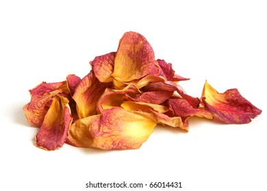 Dry petals of rose on a white background