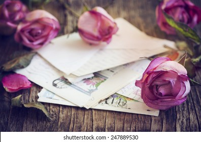 Dry Pink Roses and old Letter on Wooden Background