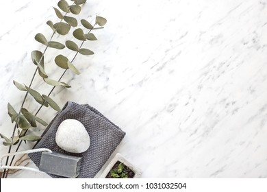 Dry plants, soap, towel on marble desk