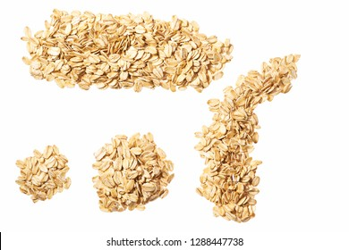 Dry raw oat flakes isolated on white background. Rolled flat grains. Oat flakes Hercules as background