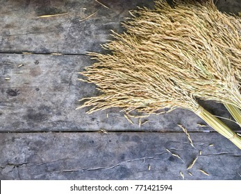 dry raw rice paddy beautifully tie with brown rope on old wood top view