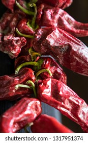Dry red peppers on a string