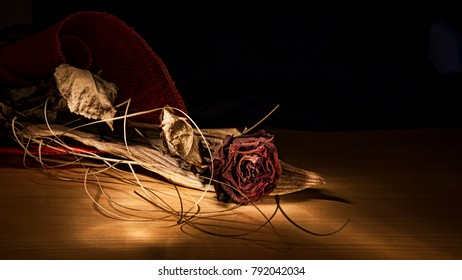 dry red rose, withered love