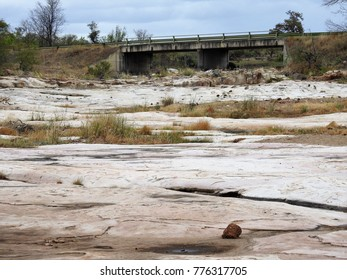 Dry river bed.