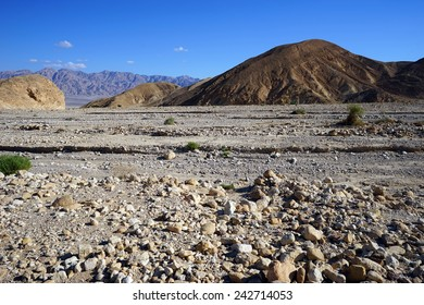 Dry riverbed in Negev desert in Israel