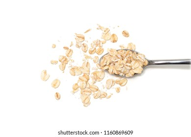 Dry rolled oatmeal on white background - isolated