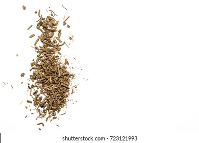 Dry root of Valerian on white background