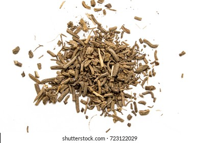 Dry root of Valerian on white background
