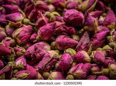 dry rose buds as background