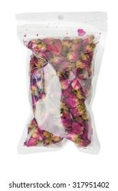 Dry roses in plastic bags