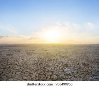dry saline land at the sunset