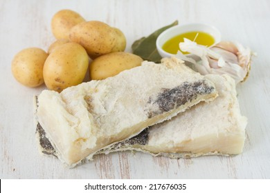 dry salted codfish with potato and garlic