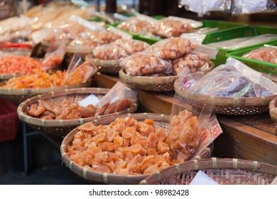 Dry seafood. Tai O fish market. Hong Kong.
